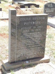 Grave marker of Hector Pieterson, boy martyr of the Soweto uprising, 16 June 1976