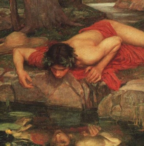 Narcissus sees his reflection