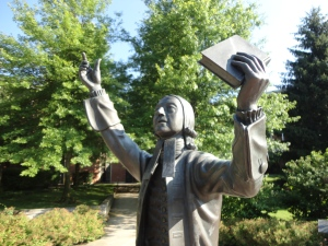 Statue of John Wesley (1703-91) on the campus of Asbury Theological Seminary, Wilmore, KY