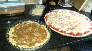 A large pizza, loaf of bread and coffee cake, all from a single batch of dough