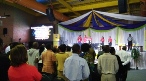 Singing during evening worship, Africa Regional Conference (Johannesburg)