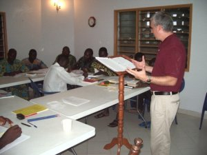 Dr Crofford teaches a course on John Wesley's theology to students in Benin