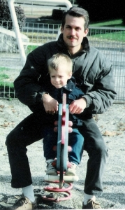 Greg and son, Brad, at a park in Albertville, France