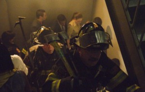 Firefighers ascend the World Trade Center on 9-11-01